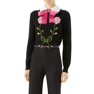 NWT Gucci Embellished Cashmere Cropped Bow Sweater
